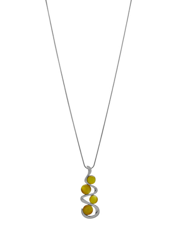 Yellow Cat Eye Pendant Necklace, Yellow, hi-res
