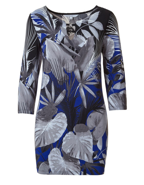 Cobalt Floral Placement Print Top, Cobalt/Grey, hi-res
