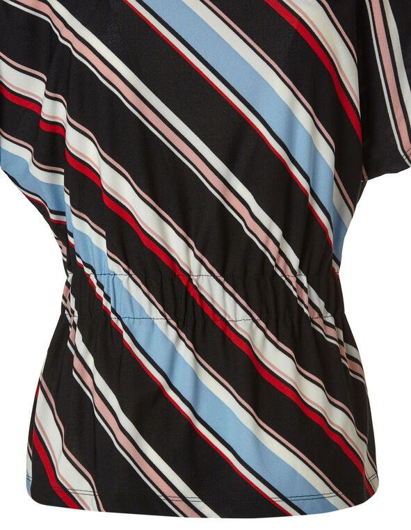 Striped Cinch Waist Top, Black, hi-res