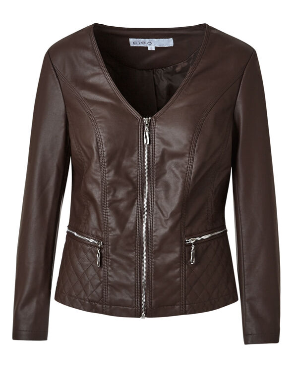 Brown Quilted Faux Leather Jacket, Brown, hi-res