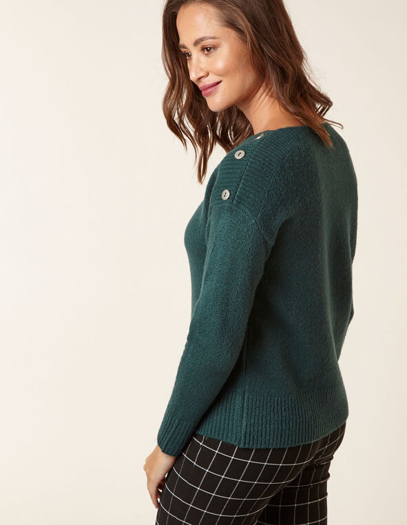 Emerald Button Detail Sweater, Green, hi-res