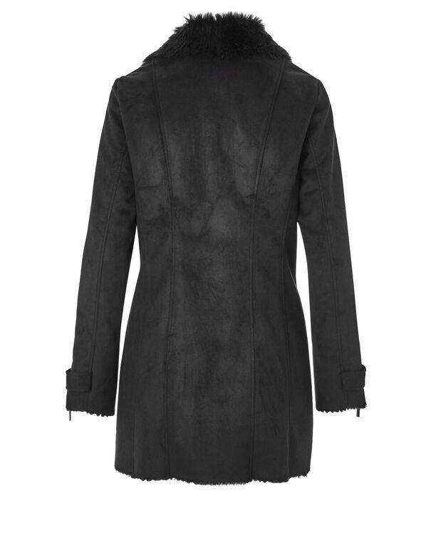 Faux Shearling Suede Coat, Black, hi-res