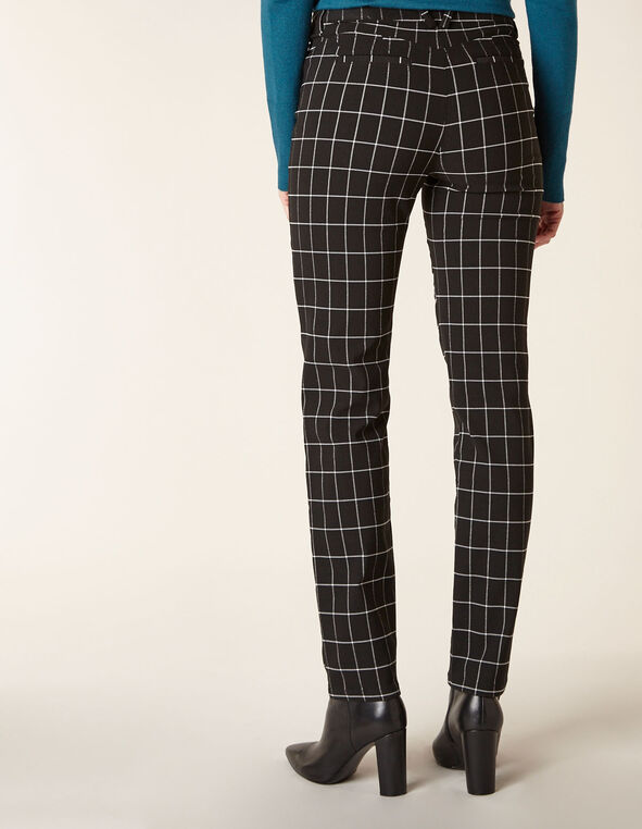 Black Plaid Butt Lift Slim Pant, Black, hi-res