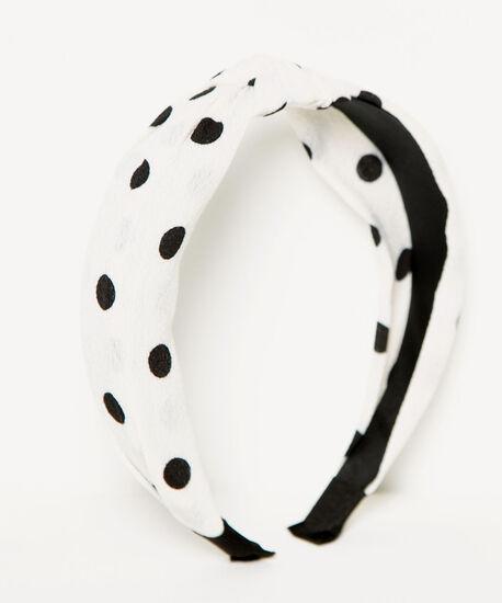 Polka Dot Knotted Headband, White/Black, hi-res