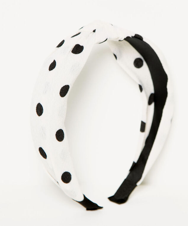 Polka Dot Knotted Headband, White/Black, hi-res