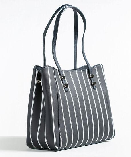 Navy Stripe Satchel Handbag, Navy/White, hi-res