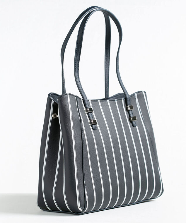 Navy Stripe Satchel Handbag, Navy/White, hi-res