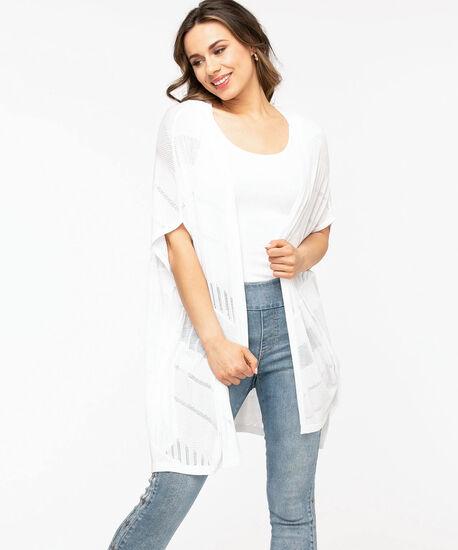 Mesh Detail Kimono Sweater, White, hi-res