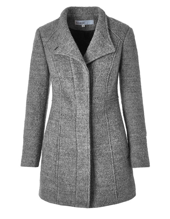 Grey Wool Blend Coat, Grey, hi-res