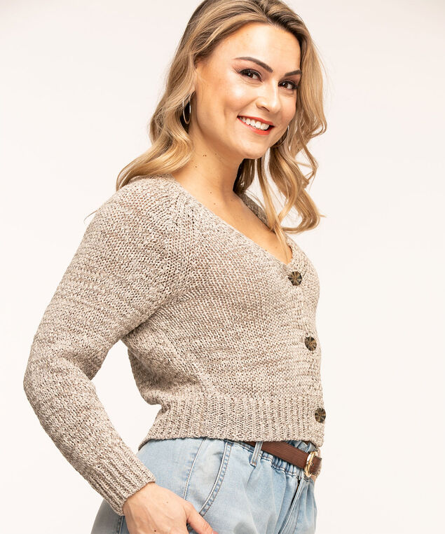 V-Neck Button Front Cardigan, Grey Mix