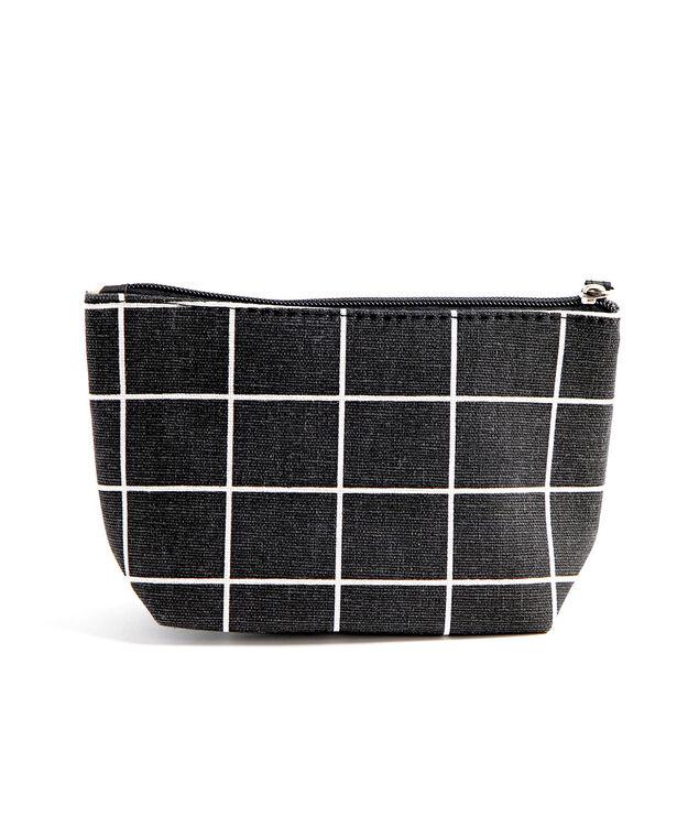 Printed Cotton Canvas Pouch, Black/White Grid
