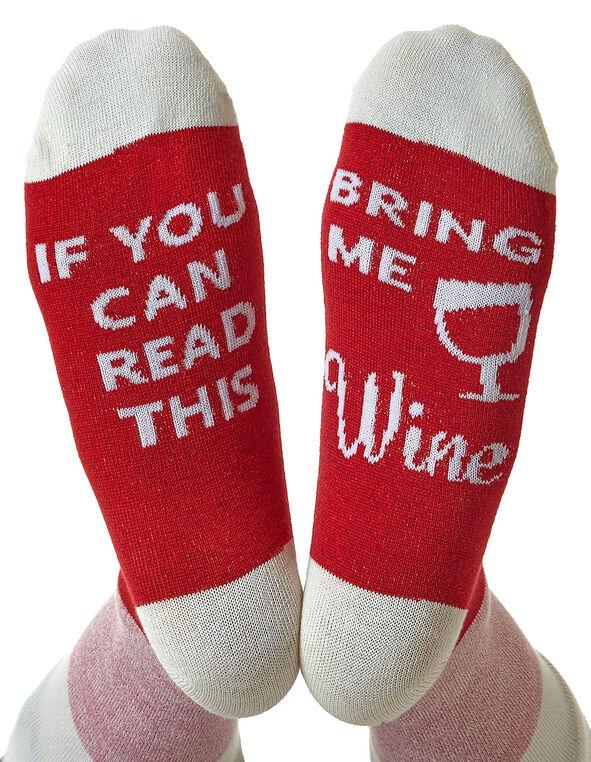 Bring Me Wine - Red Crew Sock, Red, hi-res