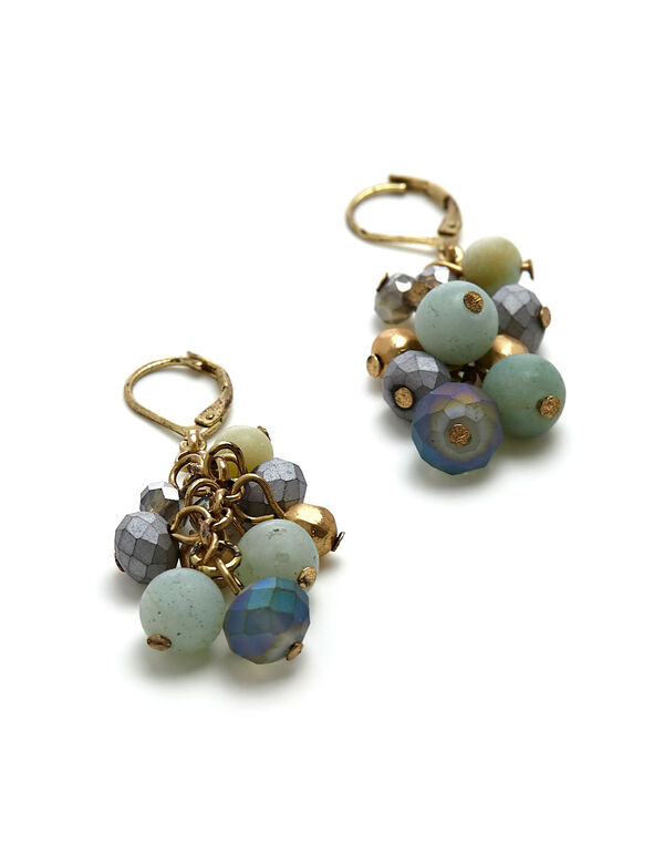 Blue Beaded Cluster Earring, Blue, hi-res