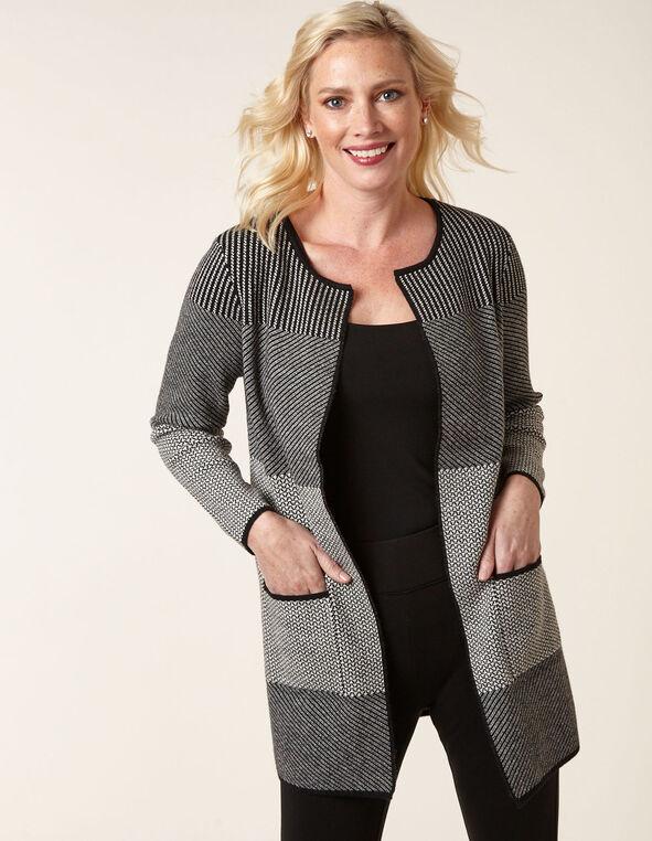 Black Striped Long Sweater Coat, Black/Grey, hi-res