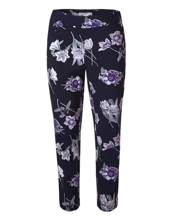Navy Floral Pullon Ankle Pant, Navy, hi-res