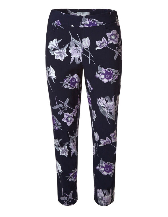 Navy Floral Pullon Ankle Pant, Navy, hi-res