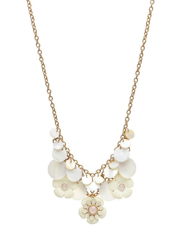 Neutral Floral Statement Necklace, Ivory/Gold, hi-res
