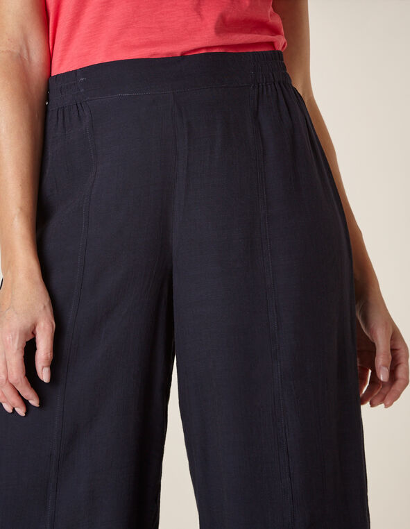 Navy Gauze Crop Pant, Navy, hi-res