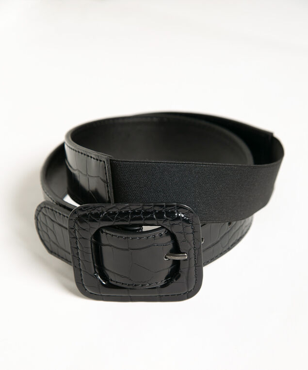 Black Croco Stretch Dress Belt, Black, hi-res