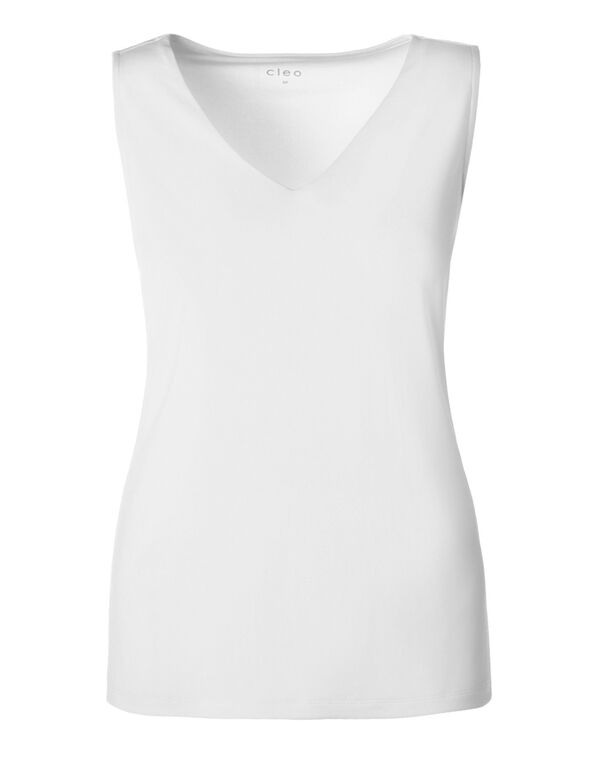 V-Neck Essential Layering Top, White, hi-res