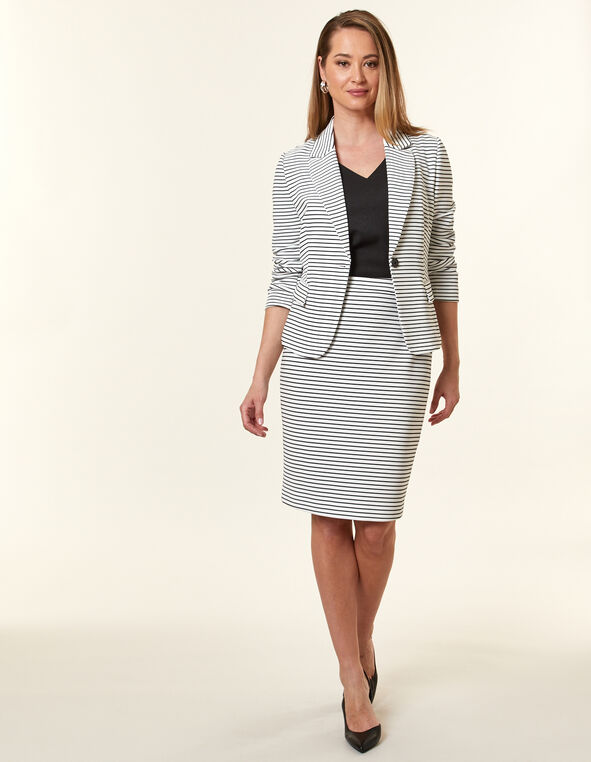 White Stripe Ottoman Blazer, White, hi-res