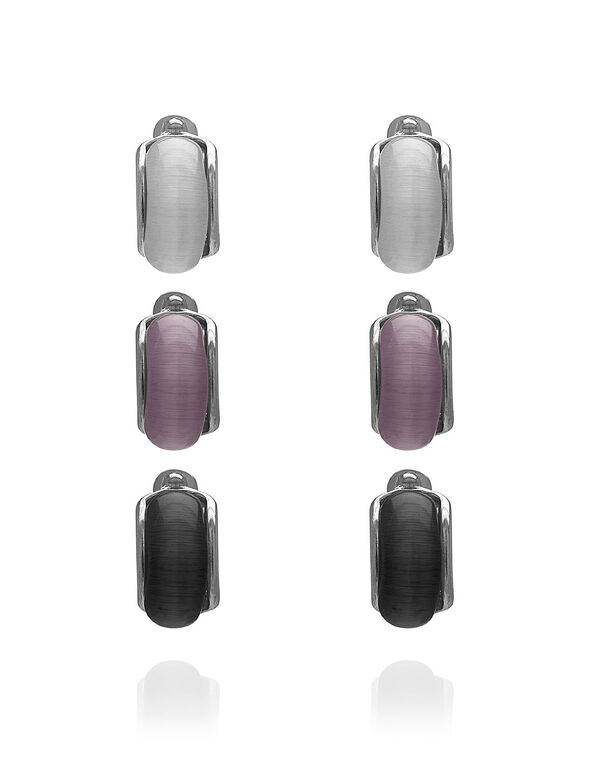 Cat Eye Trio Earring Set, White/Purple/Black, hi-res