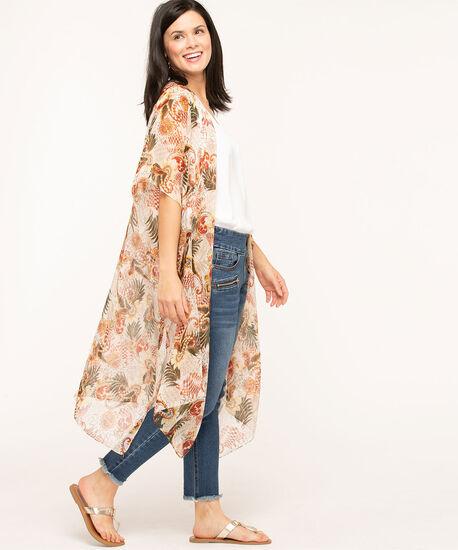 Paisley Safari Print Kimono, Ivory/Olive/Rust, hi-res