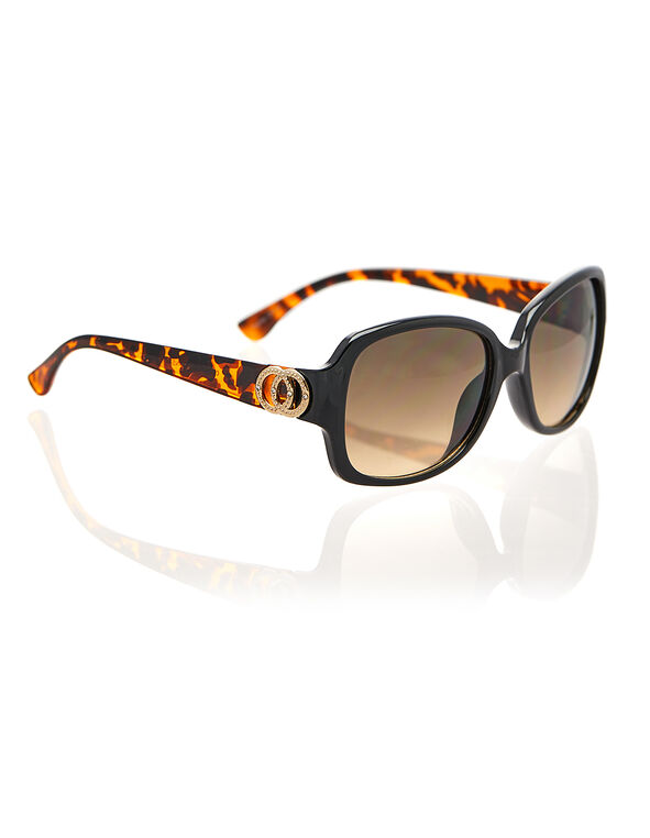 Black Frame Ring Sunglasses, Black/Brown, hi-res