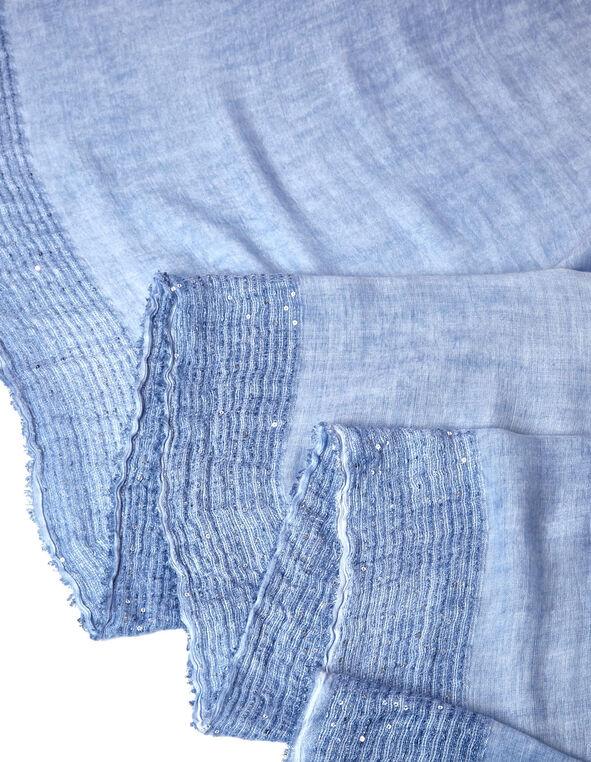 Blue Sequin Trim Scarf, Blue, hi-res