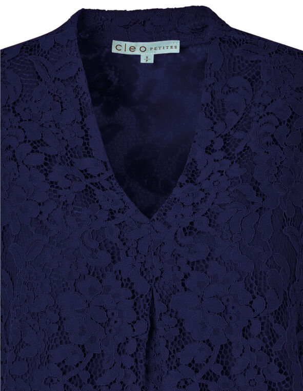 Navy Lace Sleeveless Knit Top, Navy, hi-res