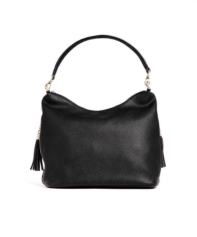 Black Side Tassel Hobo Bag, Black/Gold
