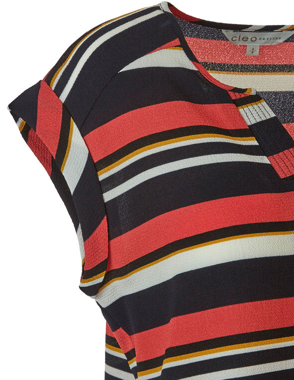 Stripe Print Blouse, Navy, hi-res