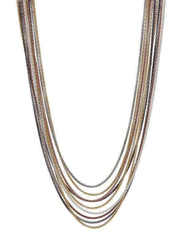 Short Multi-Coloured Chain Necklace, Silver/Gold/Rose Gold/Hemi, hi-res