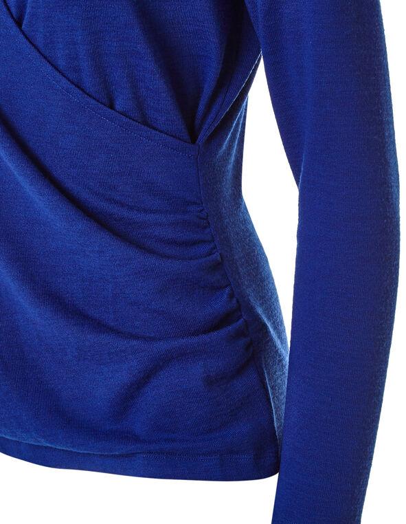 Sapphire Faux Wrap Front Hacchi Top, Blue, hi-res