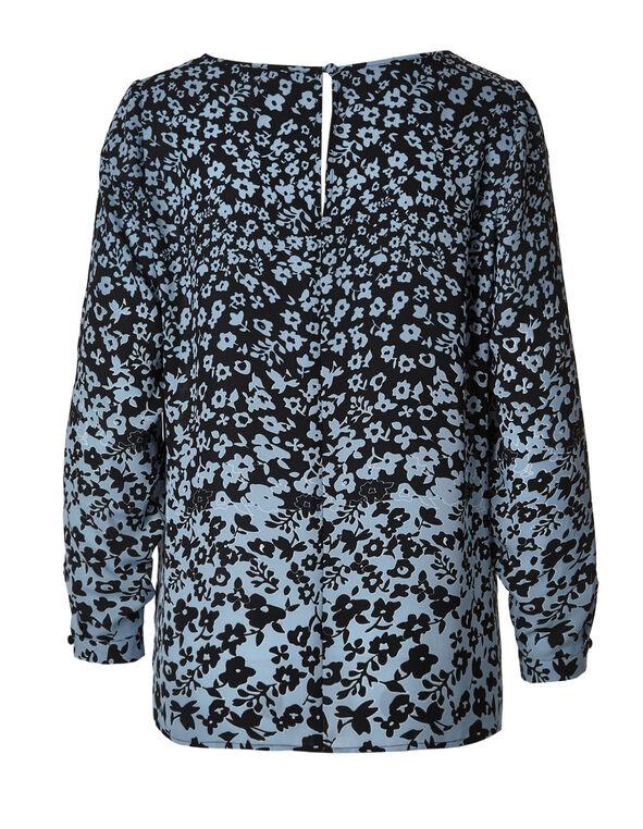 Blue Floral Slit Sleeve Textured Blouse, Blue/Black, hi-res