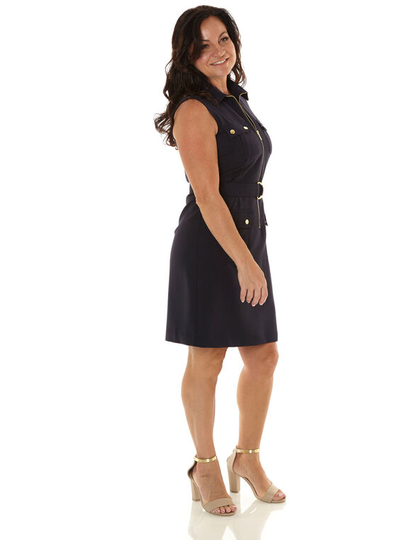Navy Zipper Front Sheath Dress, Navy, hi-res