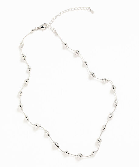 Short Silver Bead Station Necklace, Silver, hi-res