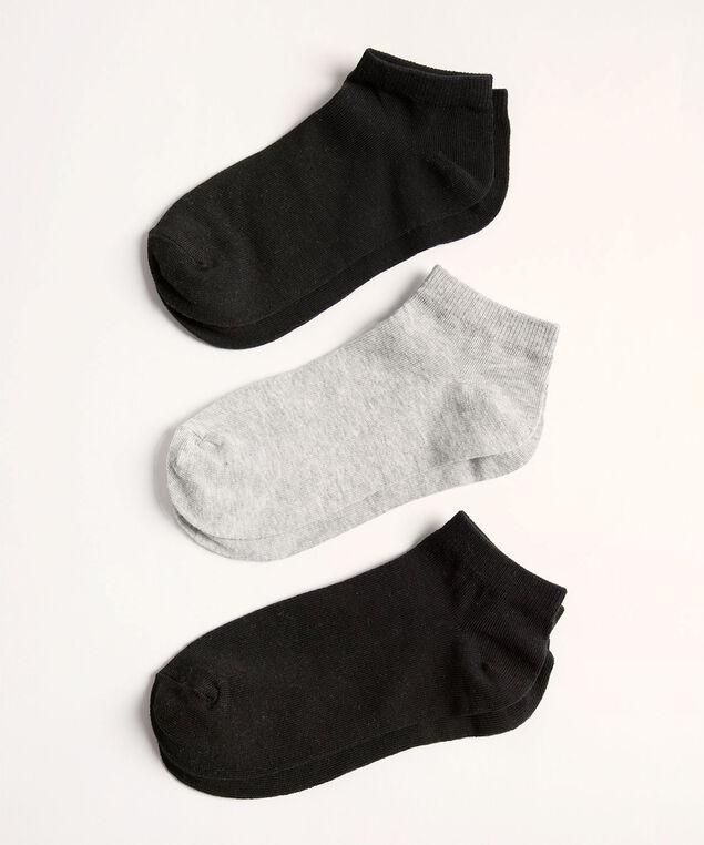 Black/Grey Ankle Sock 3-Pack, Black/Grey