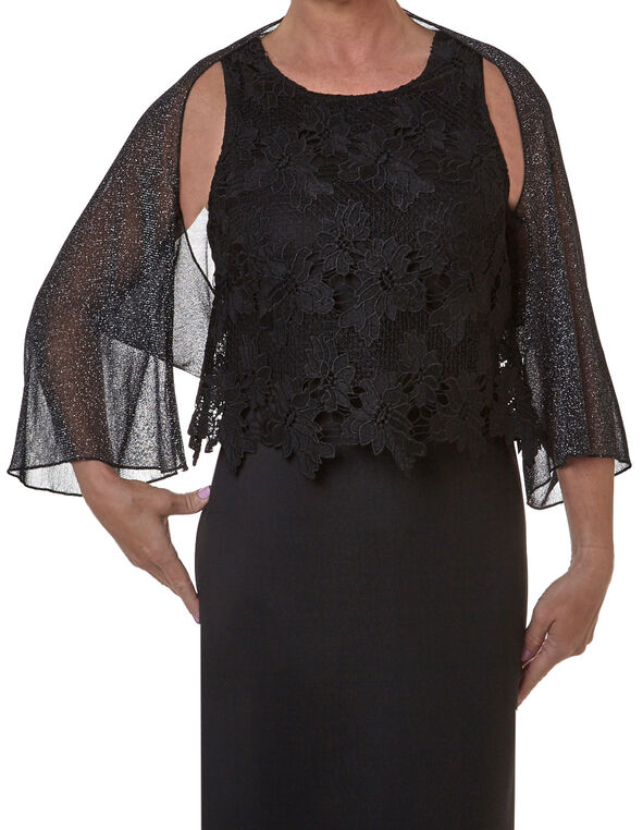 Black Shimmer Shawl, Black, hi-res