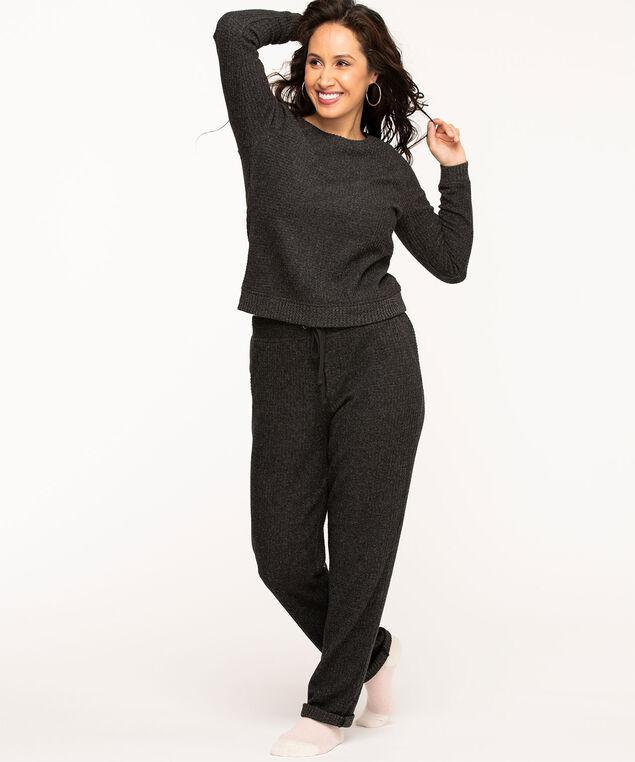 Lightweight Waffle Knit Top, Black