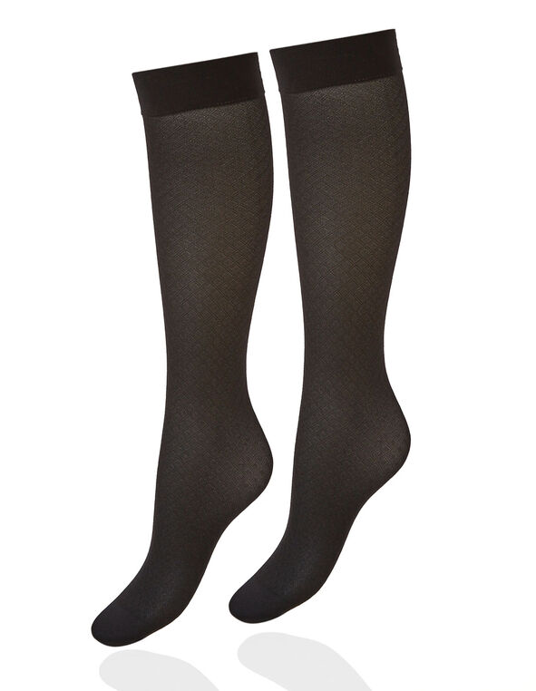 Black Patterned Trouser Sock, Black, hi-res
