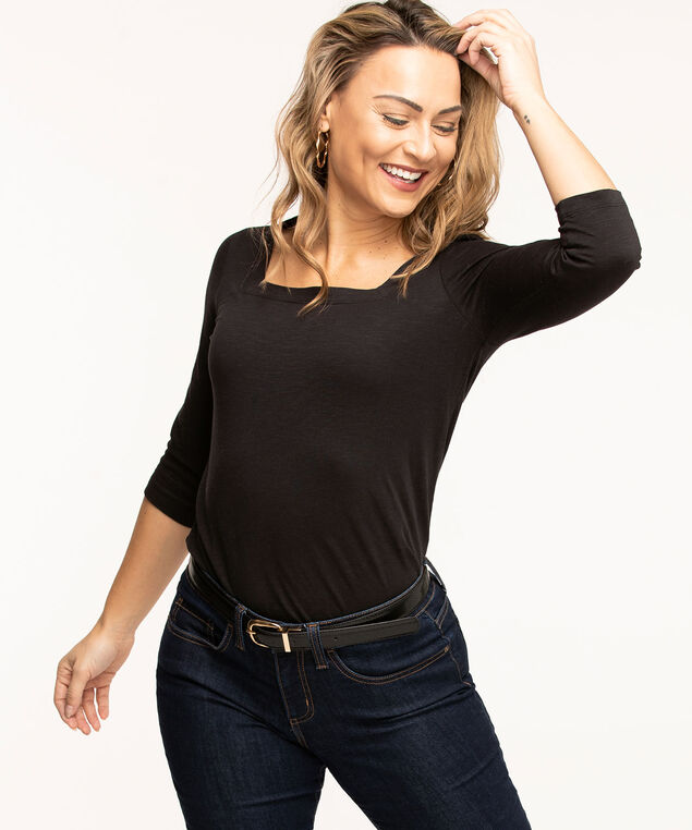 Square Neck 3/4 Sleeve Tee, Black