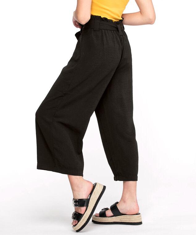 Wide Leg Pull-On Crop Pant, Black