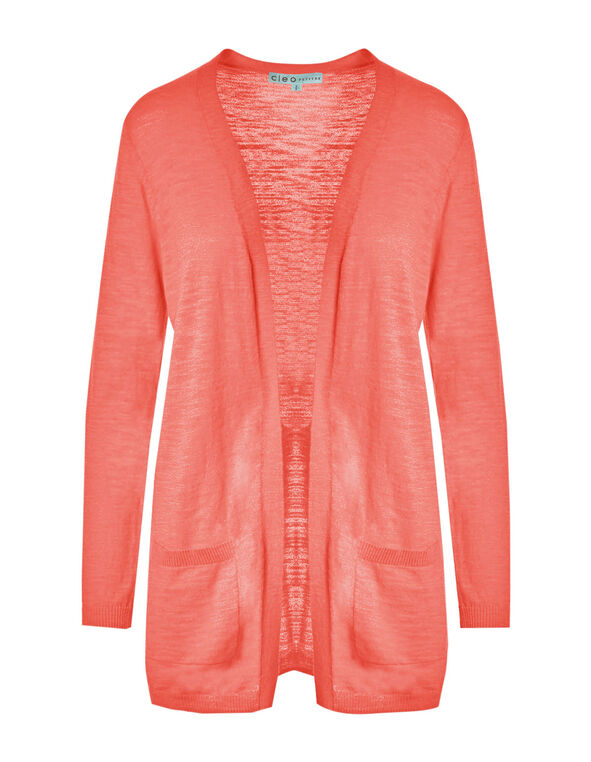 Soft Coral Long Slub Cardigan, Soft Coral, hi-res