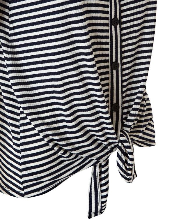 Navy Striped Front Tie Top, White/Navy, hi-res