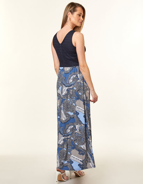 Navy Printed Lace Maxi Dress, Navy, hi-res