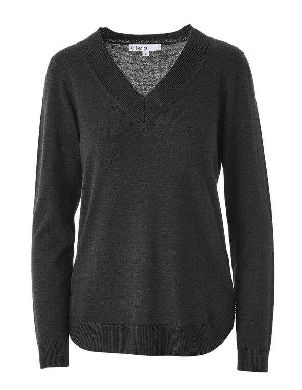 Black Recycled Fabric Pullover, Black, hi-res