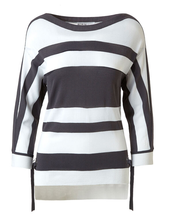 Grey Striped Crepe Pullover, Grey/White, hi-res