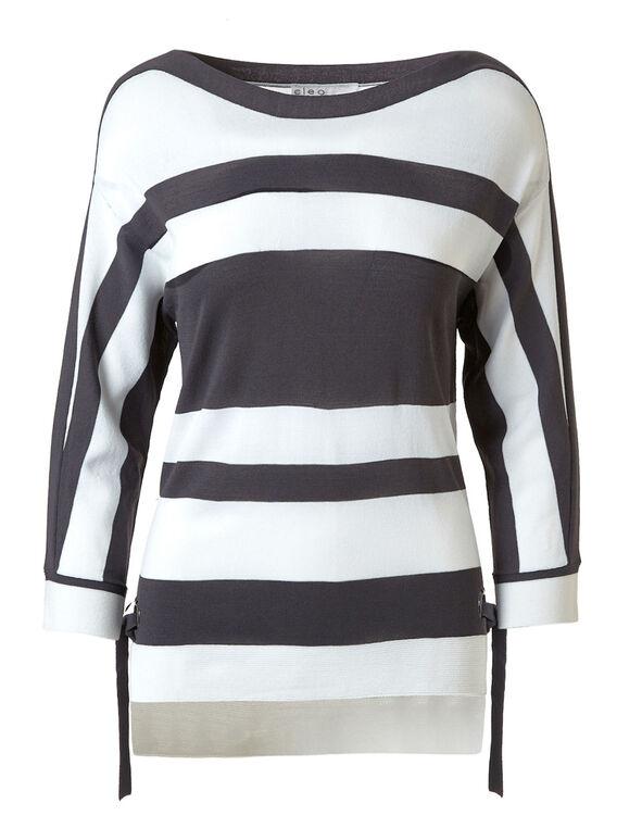 Grey Striped Crepe Pullover, Grey/White, hi-res