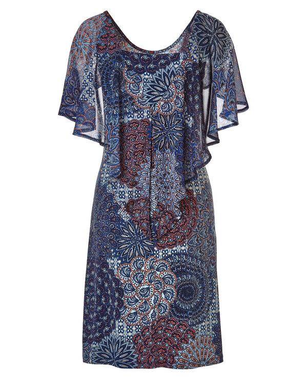 Peacock Printed Shift Dress, Peacock Printed, hi-res